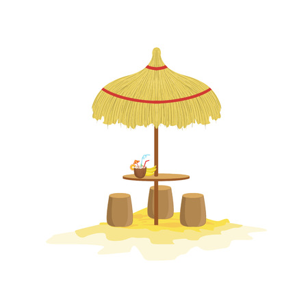 Beach Bar Mexican Culture Symbol. Isolated Bright Color Vector Object Representing Mexico On White Background Illustration