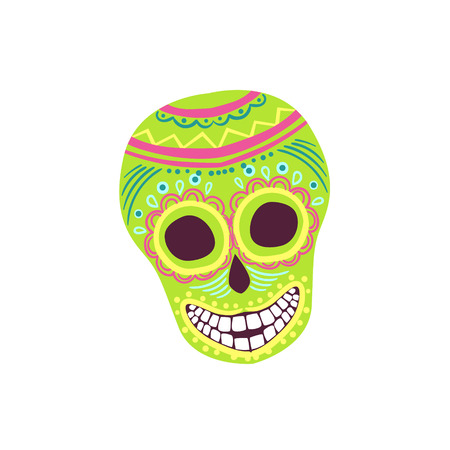 scull: Painted Scull Mexican Culture Symbol. Isolated Bright Color Vector Object Representing Mexico On White Background