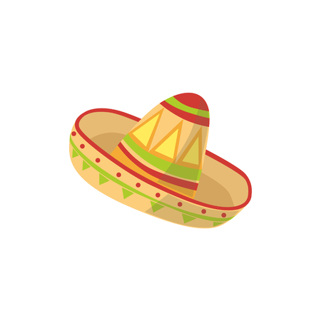 Mariachi Hat Mexican Culture Symbol. Isolated Bright Color Vector Object Representing Mexico On White Background Illustration