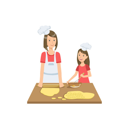 single mom: Mother And Child Making Cookies Together Illustration. Cute Simple Cartoon Style Drawing Of Single Mom And Her Kid Pastime.