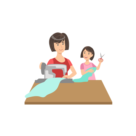 single mom: Mother And Child Sewing Together Illustration. Cute Simple Cartoon Style Drawing Of Single Mom And Her Kid Pastime.