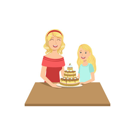single mom: Mother And Child Having Cake Together Illustration. Cute Simple Cartoon Style Drawing Of Single Mom And Her Kid Pastime.