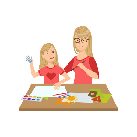 single mom: Mother And Child Doing Craft Together Illustration. Cute Simple Cartoon Style Drawing Of Single Mom And Her Kid Pastime.