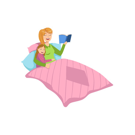 bedtime: Mother And Child Reding Bedtime Story Together Illustration. Cute Simple Cartoon Style Drawing Of Single Mom And Her Kid Pastime. Illustration