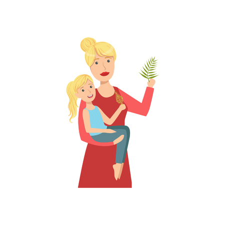 single mom: Mother And Child Enjoying The Nature Together Illustration. Cute Simple Cartoon Style Drawing Of Single Mom And Her Kid Pastime.