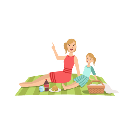 single mom: Mother And Child Having Picnic Together Illustration. Cute Simple Cartoon Style Drawing Of Single Mom And Her Kid Pastime. Illustration