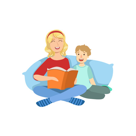 single mom: Mother And Child Reading A Book Together Illustration. Cute Simple Cartoon Style Drawing Of Single Mom And Her Kid Pastime.