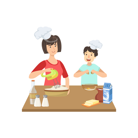 Mother And Child Cooking Together Illustration. Cute Simple Cartoon Style Drawing Of Single Mom And Her Kid Pastime.
