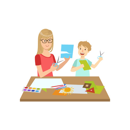 Mother And Child Doing Applique Together Illustration. Cute Simple Cartoon Style Drawing Of Single Mom And Her Kid Pastime. Illustration