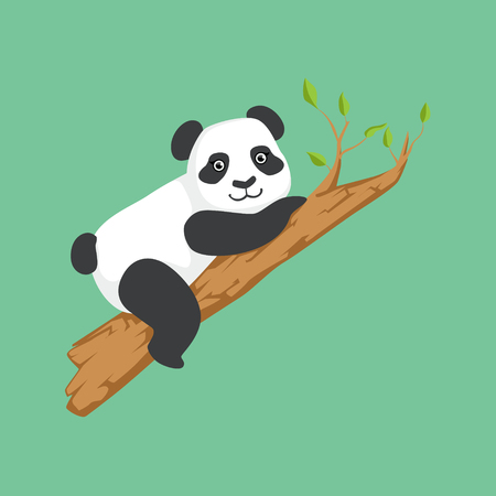 Cute Panda Character Climbing A Tree Illustration. Cartoon Animal Icon In Girly Style On Green Background.