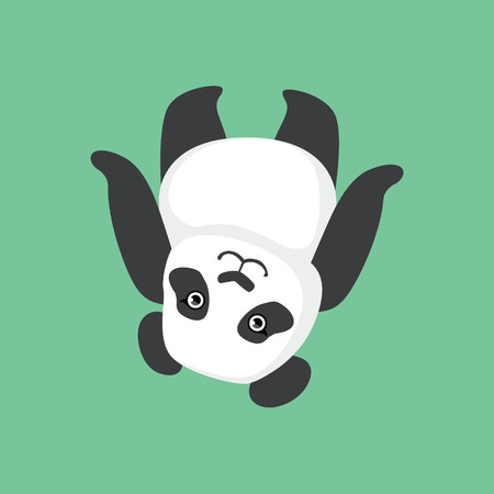 Cute Panda Character Laying On The Back Illustration. Cartoon Animal Icon In Girly Style On Green Background.  イラスト・ベクター素材