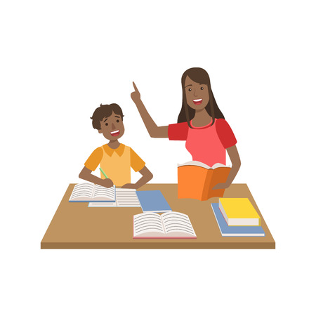 Mother And Child Doing Homework Together Illustration. Cute Simple Cartoon Style Drawing Of Single Mom And Her Kid Pastime. Illustration