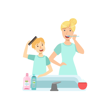 single mom: Mother And Child Preparing For Bed Together Illustration. Cute Simple Cartoon Style Drawing Of Single Mom And Her Kid Pastime.