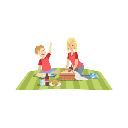 Mother And Child Having Picnic Lunch Together Illustration. Cute Simple Cartoon Style Drawing Of Single Mom And Her Kid Pastime.