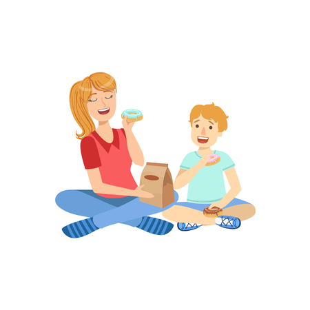 legs crossed: Mother And Child Eating Doughnuts Together Illustration. Cute Simple Cartoon Style Drawing Of Single Mom And Her Kid Pastime. Illustration