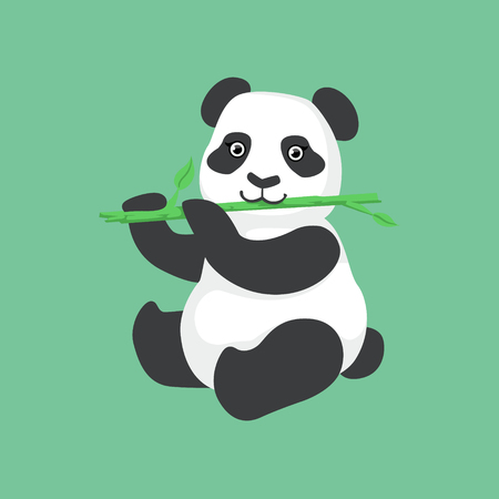 Cute Panda Character Eating Bamboo Illustration. Cartoon Animal Icon In Girly Style On Green Background.  イラスト・ベクター素材