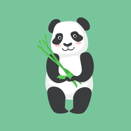 simplified: Cute Panda Character Holding Bamboo Sticks Illustration. Cartoon Animal Icon In Girly Style On Green Background.