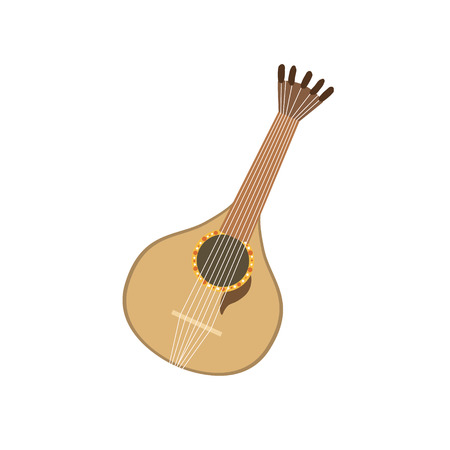 touristic: Acoustic Guitar Portuguese Famous Symbol . Touristic Well-known Emblems Of Portugal Simple Illustration Isolated On White Background.