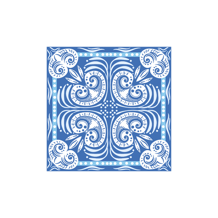 touristic: Azulejo Tile Portuguese Famous Symbol. Touristic Well-known Emblems Of Portugal Simple Illustration Isolated On White Background.