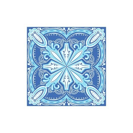 touristic: Tin-glazed Azulejo Tile Portuguese Famous Symbol. Touristic Well-known Emblems Of Portugal Simple Illustration Isolated On White Background.