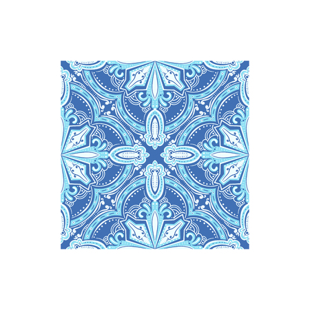 touristic: Geometric Pattern Azulejo Tile Portuguese Famous Symbol. Touristic Well-known Emblems Of Portugal Simple Illustration Isolated On White Background.