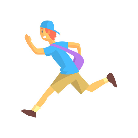 cool guy: Express Mail Postman Guy Running. Graphic Design Cool Geometric Style Isolated Drawing On White Background Illustration