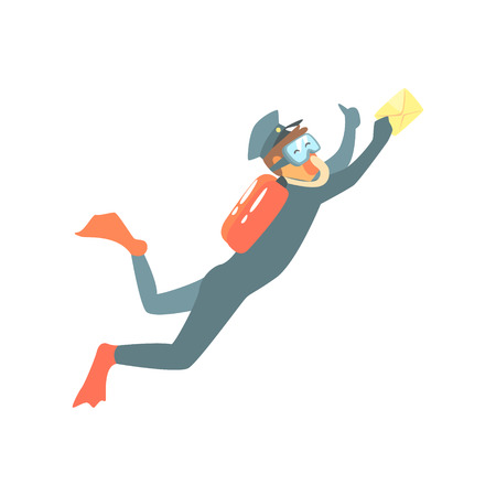 Postman With Diving Equipment And Letter Underwater. Graphic Design Cool Geometric Style Isolated Drawing On White Background