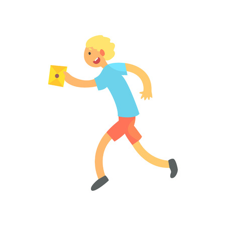 Boy Running Fast To Deliver A Letter. Graphic Design Cool Geometric Style Isolated Drawing On White Background