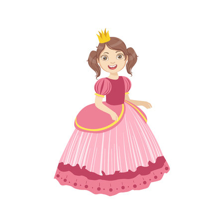 cinderella: Little Girl With Ponytails Dressed As Fairy Tale Princess. Cute Flat Child Character In Bright Colored Clothes Isolated On White Background