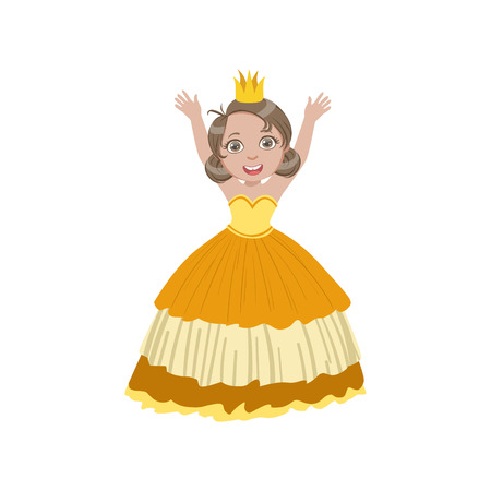hark: Little Girl In Sleeveless Yellow Dress Dressed As Fairy Tale Princess. Cute Flat Child Character In Bright Colored Clothes Isolated On White Background