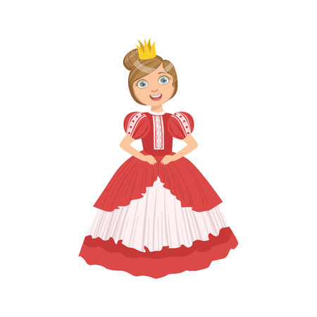 Little Girl With High Hairdo Dressed As Fairy Tale Princess. Cute Flat Child Character In Bright Colored Clothes Isolated On White Background