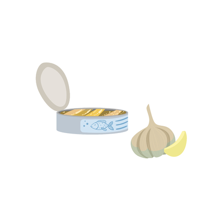 Sardines, Garlic And Lemon Bright Color Isolated Illustration. Supermarket Product Bright Color Simple Vector Icon.
