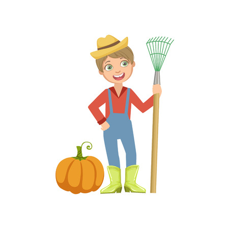 Boy Dressed As Farmer With Pumpkin And Rake. Child Dream Future Profession Cute Colorful Illustration Isolated On White Background. Illustration