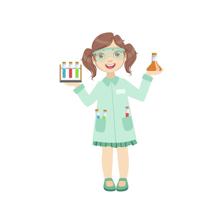 Girl Dressed As Chemist Holding Test Tubes. Child Dream Future Profession Cute Colorful Illustration Isolated On White Background. Illustration