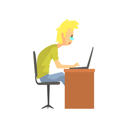concerned: Programmer Student Working On Lap Top Funny Character. Graphic Design Cool Geometric Style Isolated Drawing On White Background