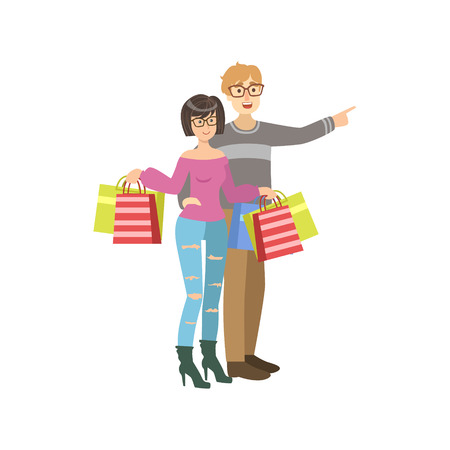 Girl With Paper Bags In Shopping Mall. Bright Color Cartoon Simple ...