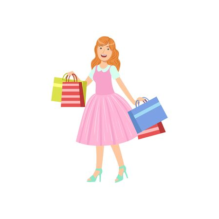 Girl Buying Clothes In Shopping Mall. Bright Color Cartoon Simple Style Flat Vector Sticker Isolated On White Background Vectores