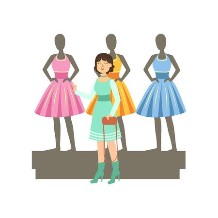 Woman Choosing Dresses On Mannequinns In Shopping Mall. Bright Color Cartoon Simple Style Flat Vector Sticker Isolated On White Background Vectores