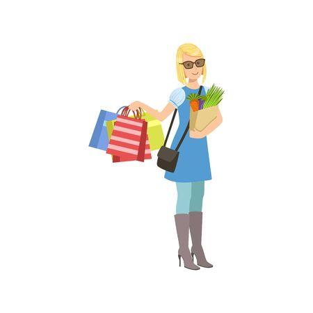 Mädchen Kauf Von Kleidung In Shopping Mall. Helle Farben-Karikatur ...