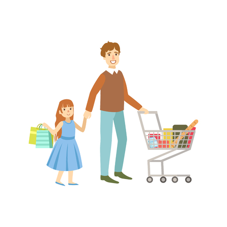 Father And Daughter Shopping Together. Bright Color Cartoon Simple Style Flat Vector Sticker Isolated On White Background
