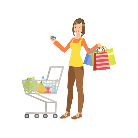 Woman With Shopping Bags And Full Cart Holding Credit Card. Bright Color Cartoon Simple Style Flat Vector Sticker Isolated On White Background