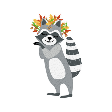 Cute Raccoon Character With Autumn Leaves Chaplet. Cartoon Humanized Animal Icons In Girly Style On White Background. Illustration