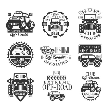 Quad Bike Rental Club Set Of Emblems With Black And White Quadricycle Atv Off-Road Transportation Silhouettes. Vintage Stamp Monochrome Vector Collection With Cars.