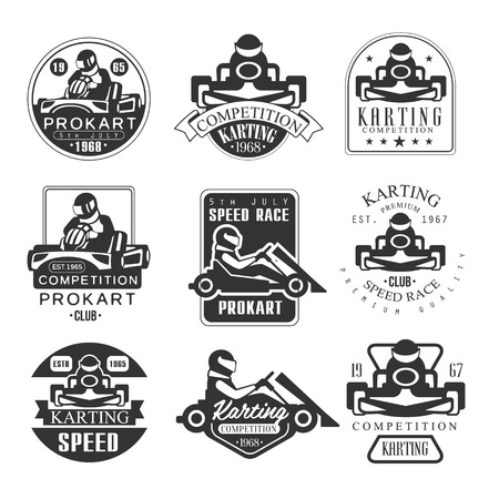 Premium Quality Procart Competition Club Set Of Black And White Emblems With Racing Karting Car And Racer Silhouettes. Vintage Stamp Monochrome Vector Collection With Cars.