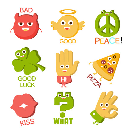 Words And Corresponding Illustrations, Cartoon Character Objects With Eyes Illustrating The Text Emoji Set. Primitive Gestures And Symbols Collection For Messages Emoticon Use Flat Vector Icons. Illustration