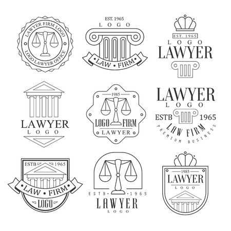 Law Firm And Lawyer Office Templates With Classic Ionic Pillars, Pediments And Balance Silhouettes Set Of Black And White Signs. Vector Monochrome Emblems For Premium Class Business Service. Ilustracja