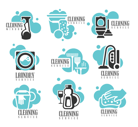House And Office Cleaning Service Hire Labels Set, Templates For Professional Cleaners Help For The Housekeeping. Different Possible Cleanup Zone Silhouettes On Promotional Vector Stickers In Black And Blue Color.