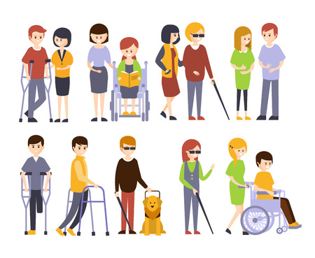 Physically Handicapped People Receiving Help And Support From Their Friends And Family, Enjoying Full Life With Disability Set Of Illustrations With Smiling Disabled Men And Women. Colorful Flat Vector Cartoon Characters With Physical Impairments And In Wheelchairs. Stockfoto - 128162282