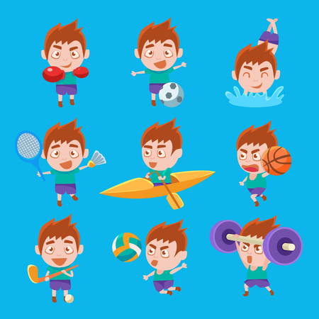 Kid Sportsman Doing Different Sport Types Set Of Illustrations. Colorful Vector Stickers With Sportive Boy Doing Assortment Of Training Workouts. Иллюстрация