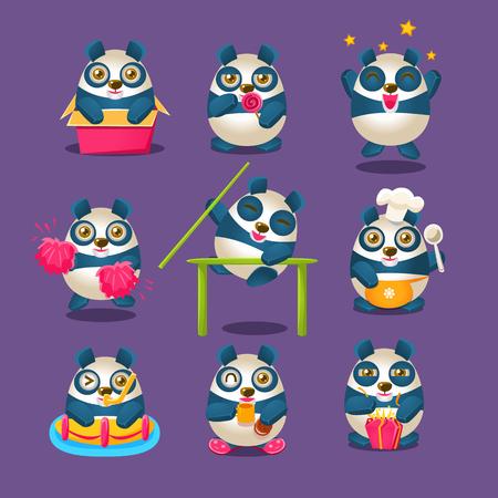 Collection mignonne d'emoji de panda avec le personnage de panda de dessin animé humanisé faisant différentes choses au jour le jour. Illustrations vectorielles isolées colorées avec des animaux dans différentes situations fantastiques définies.